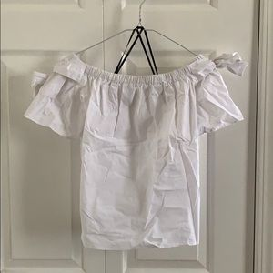 Forever 21 off the shoulder white bow shirt